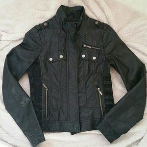 Black faux leather jacket size S